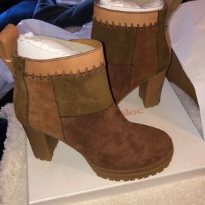 See by Chloe patchwork suede boots factory package